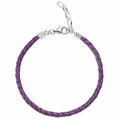 Chamilia Metallic Braided Leather Bracelet - Purple (1030-0113)