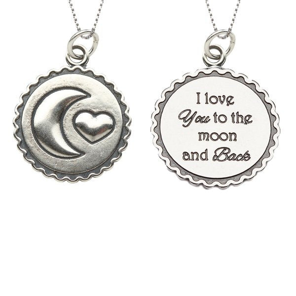 "Cherished Moments BCN-Moon & Back 18"" Sterling Silver Box Chain w/Charm"