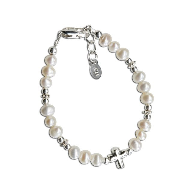 Cherished Moments Emily Sterling Silver Bracelet w/Freshwater Pearls & Cross Bead in Center
