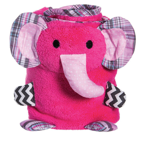 Blossoms & Buds Elephant Rolled Blanket - Pink