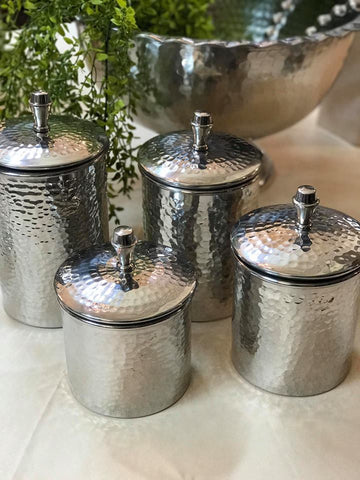 3567 4 Piece Hammered Metal Canister Set