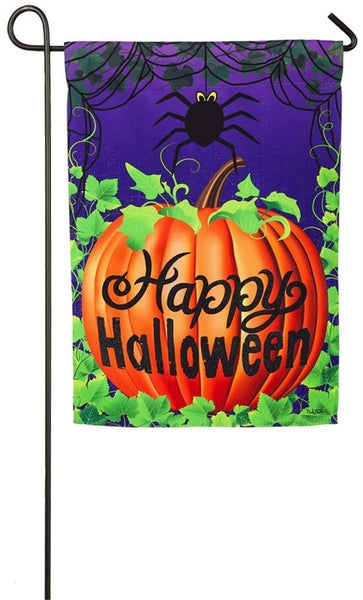 Evergreen Halloween Spider Garden Suede Flag 14S3936BL