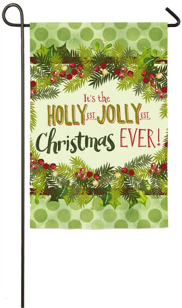 Evergreen Holly Jolly Christmas Garden Suede Flag 14S3931