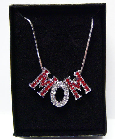 """MOM"" Necklace w/Red & Clear Crystals"