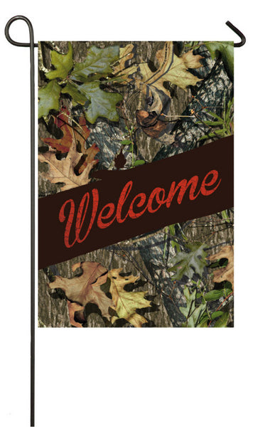 Evergreen Mossy Oak Welcome Garden Sub Suede Flag