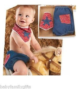 Mud Pie Cowboy Diaper Cover Set 1032111-Depot Gifts & Corner Fashions