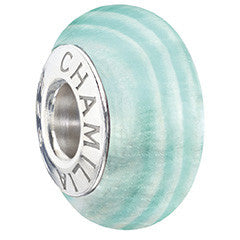 Chamilia Murano Glass - Ribbon Candy - Frosty Teal 2110-1181