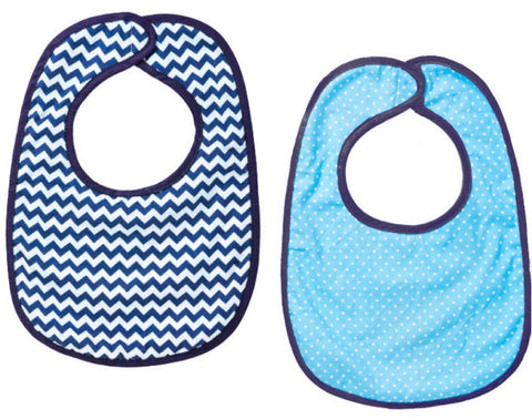 Blossoms & Buds Set of 2 Cotton Bibs - Navy Chevron & Blue Dot