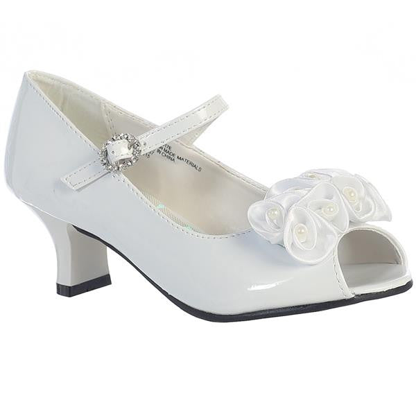 "Sweet Pea & Lili Nancy 1 1/2"" Heel w/Pearled Satin Flowers - White"
