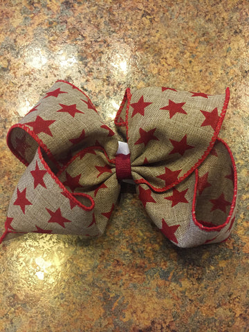 Wee Ones King Burlap Sparkle Stars & Stripes Bow 7512-G