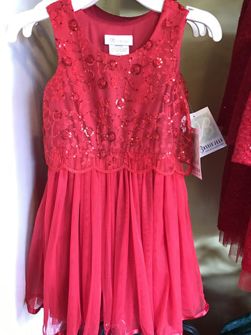 Bonnie Jean X38626-DV Sequined Rose Popover - Red-Depot Gifts & Corner Fashions