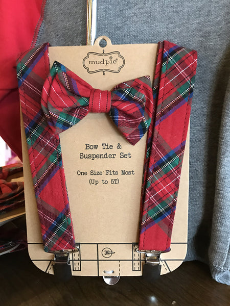 Mud Pie Plaid Bow Tie Suspender Set (1592105)