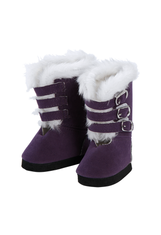 Adora Purple Buckle Boot with Fur Trim