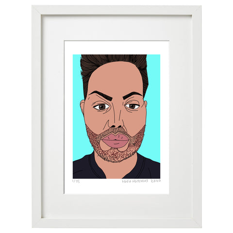 An illustrative digital portrait of Bobby Norris. Bobby's face and shoulders are surrounded by a bright blue background. Bobby has a fixed expression on the viewer, with his left eyebrow slightly raised and is wearing a black t-shirt. This print is in a white frame. By artist Hugo Hutchins.