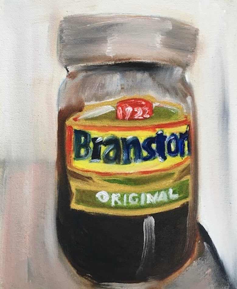 Oil painting of a jar of Branston pickle, on a neutral painterly background. Original. Piece by Caroline Streatfield.