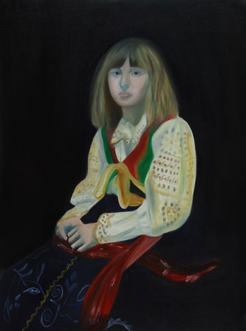 This is an oil portrait painting. The painting features a young girl in a dress. She is sat down with hands folded in her lap and her expression is solemn. The background is black and she is wearing a white shirt, whereas the bottom half is dark. By Caroline Streatfield.