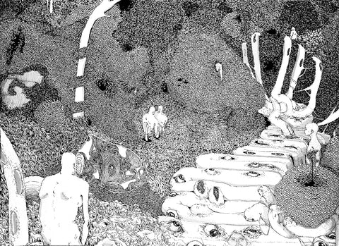 A monochrome print of a detailed illustration, depicting a surreal landscape of figures, trees and texture. Edition of 5. Piece by Chantalle Mafoti