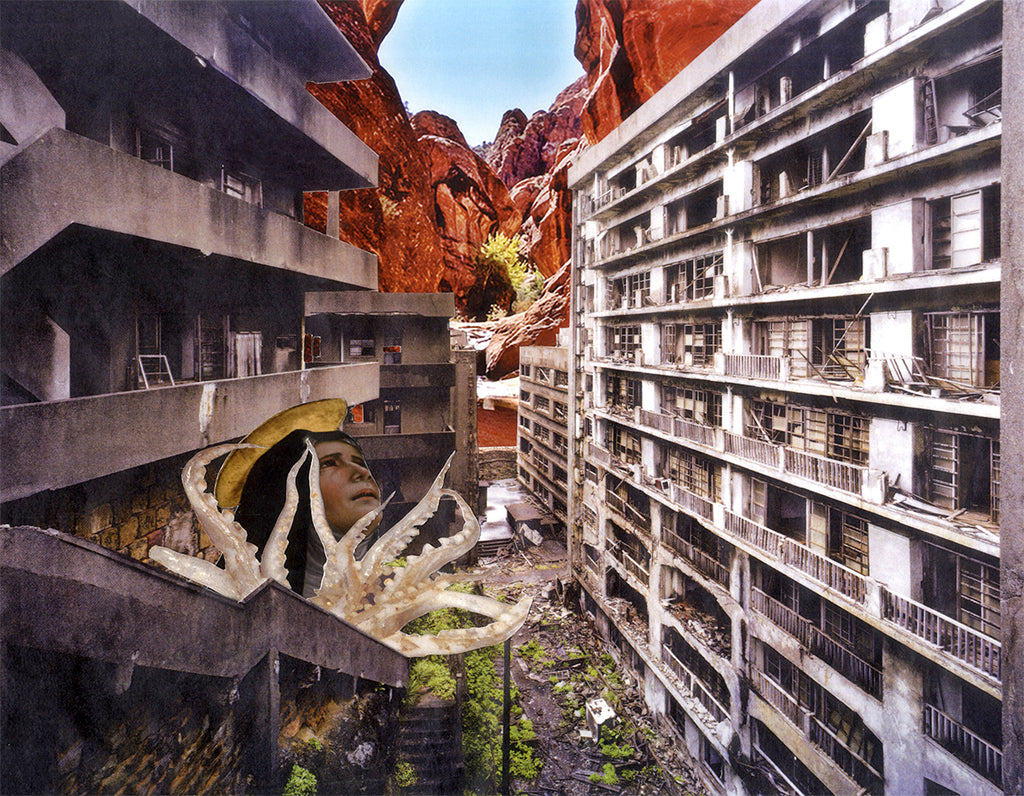 collaged image of two disintegrating brutalist tower blocks facing each other. They are built in front of a huge canyon. There are octopus tentacles and a fearful looking religious face appearing from the tower block on the left side of the composition. Made by Chloe Kelly.