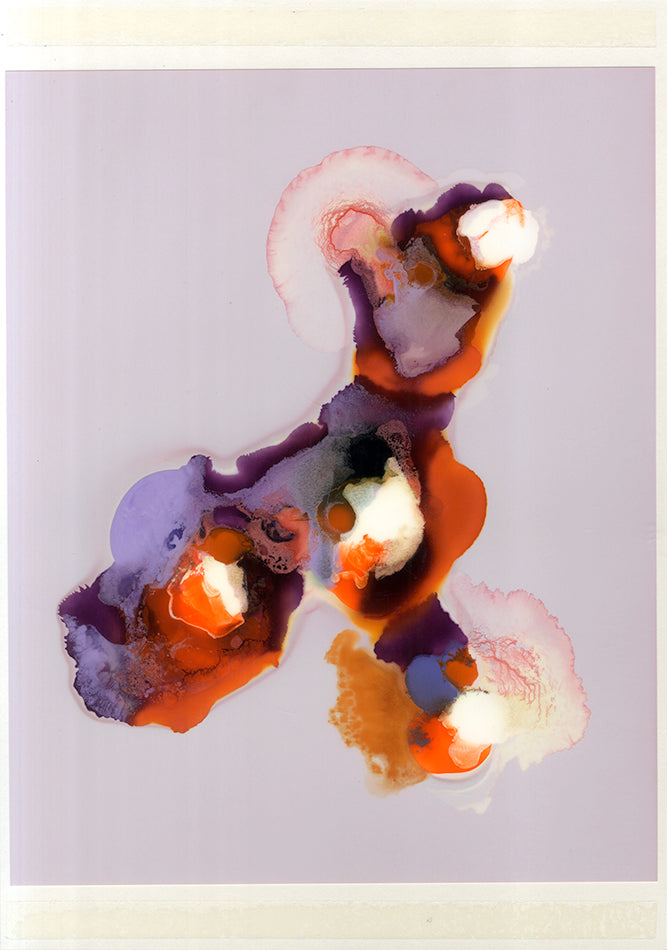 Bright pigments of orange, dark purple, lilac, red and white look almost flattened spreading out across the page. The top and bottom of the image has double sided tape visible. Artist Dan Gombos.