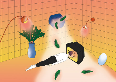 This scene depicts a person inside a room full of orange and yellow tiles. The person is lying on the floor if the head stuck through a TV screen, which is also on the floor. There is a number of lights lighting up the scene with tree leaves falling on the floor. By Dana Hong.