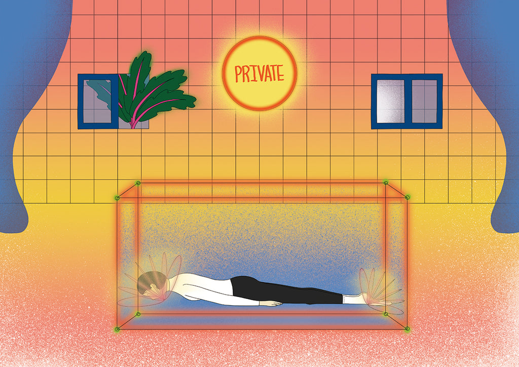 This scene depicts a tiled room with two windows in the back and a round sign with PRIVATE written inside it. There are blue curtains on either side of the image with a glass tank in the middle of the room. Inside the tank there is a woman lying with her head flat down. By Dana Hang.
