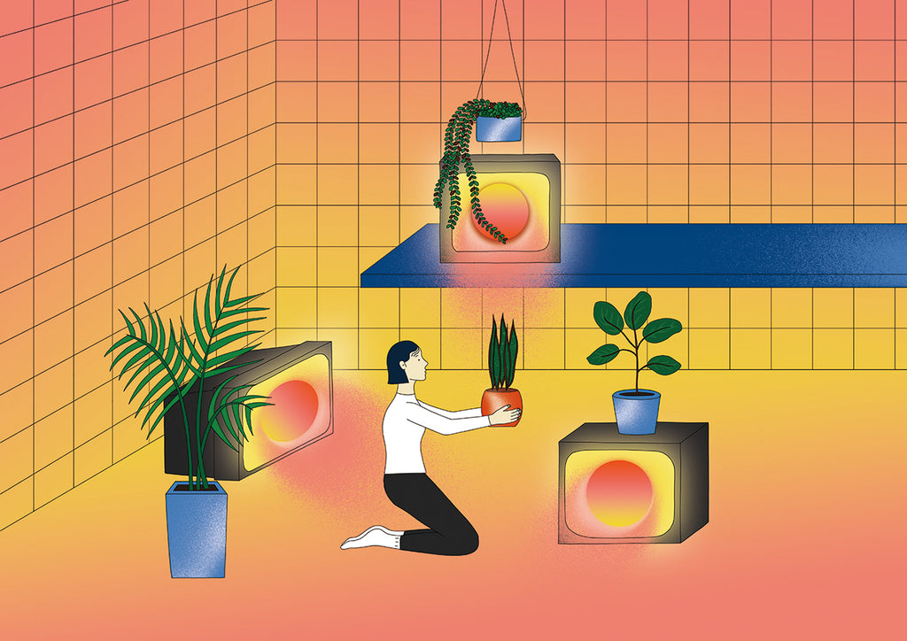 This image shows an imagined interior scene. There is a person sitting on the floor holding a plant. There are three TV screens around the room, which look like heaters radiating heat. Each screen has a plant on top of it. By Dana Hong.