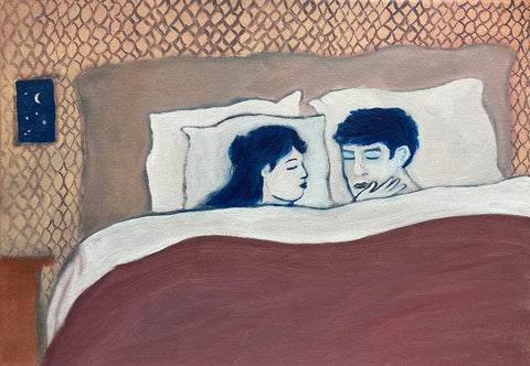 Acrylic painting of a couple asleep in bed under a red blank, with patterned walls and the night sky in the background. Piece by Henry Glover