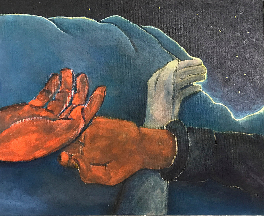 Original artwork in oil and soft pastel, showing hands laying next to each other under the starry night sky. Piece by Henry Glover