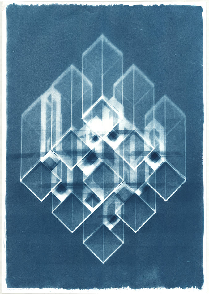 Abstract blue cyanotype. Blue background with abstract white block design. By artist Eleanor Suess