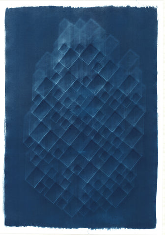 Abstract blue cyanotype. Blue background with a large faint abstract white multiple block design that resembles a honeycomb. By artist Eleanor Suess