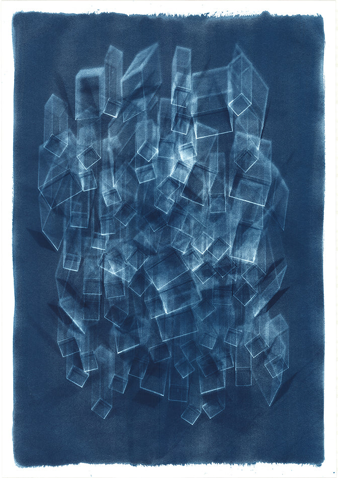 Abstract blue cyanotype. Blue background with abstract multiple 3D white block design. By artist Eleanor Suess