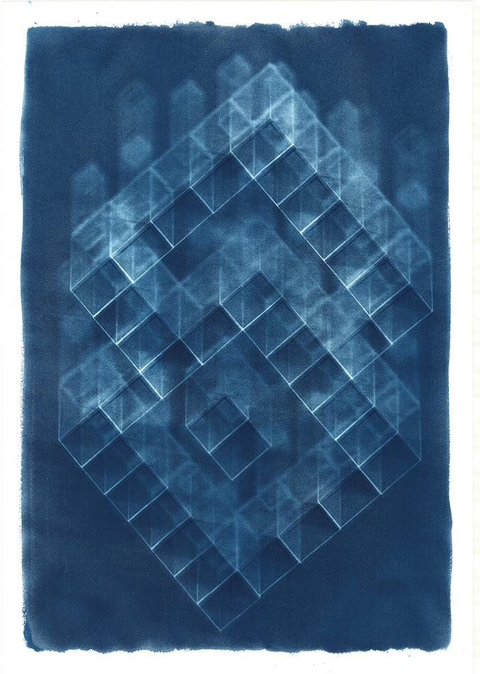 Abstract blue cyanotype. Blue background with abstract multiple 3D white block design, the pattern resembles a 3D 's'. By artist Eleanor Suess