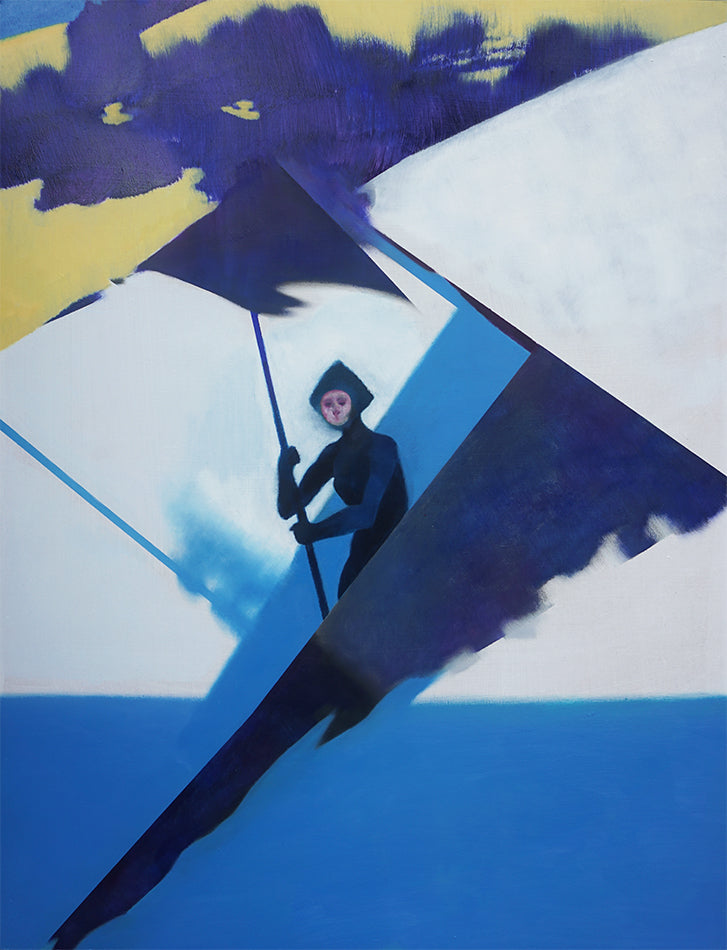An oil painting of an usual figure. The painting is made up of various geometric shapes in different shades of blue. There is figure is in dark blue holding up a triangular figure on a string. The top of the painting has dark blue shapes on a yellow background. By Felix Allen.