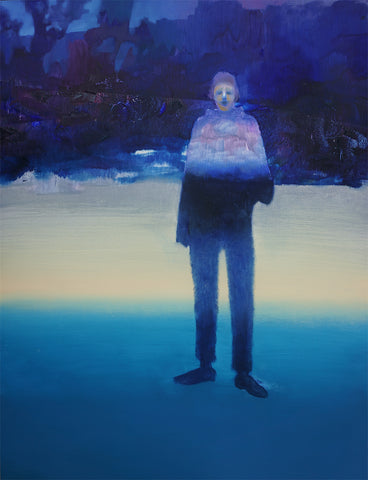 The oil painting depicts a figure on the right hand side. The background is made up of three colours, light blue at the bottom, pale yellow in the middle and dark blue at the top. The figure in the forefront could be a man or a woman, the colours blurring together to form a large shadow. By Felix Allen.