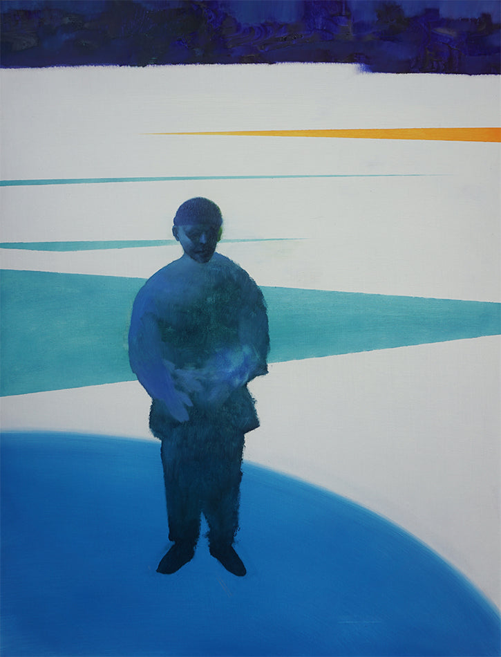 This oil painting depicts a dark blue figure in the forefront. The background is predominantly white, with various blue and one yellow triangular shapes appearing. By Felix Allen.