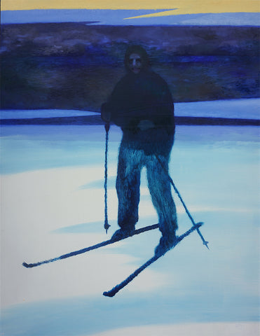 This oil painting depicts a dark figure painted using blues on skis and holding ski poles. The figure is stationary on a white ground, which looks like ice or snow, with a dark blue horizon looming behind. By Felix Allen.