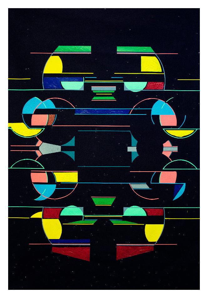 This image is of the photograph. It shows a black background with colourful geometric shapes joined up by different lines. By Hannah Pratt.
