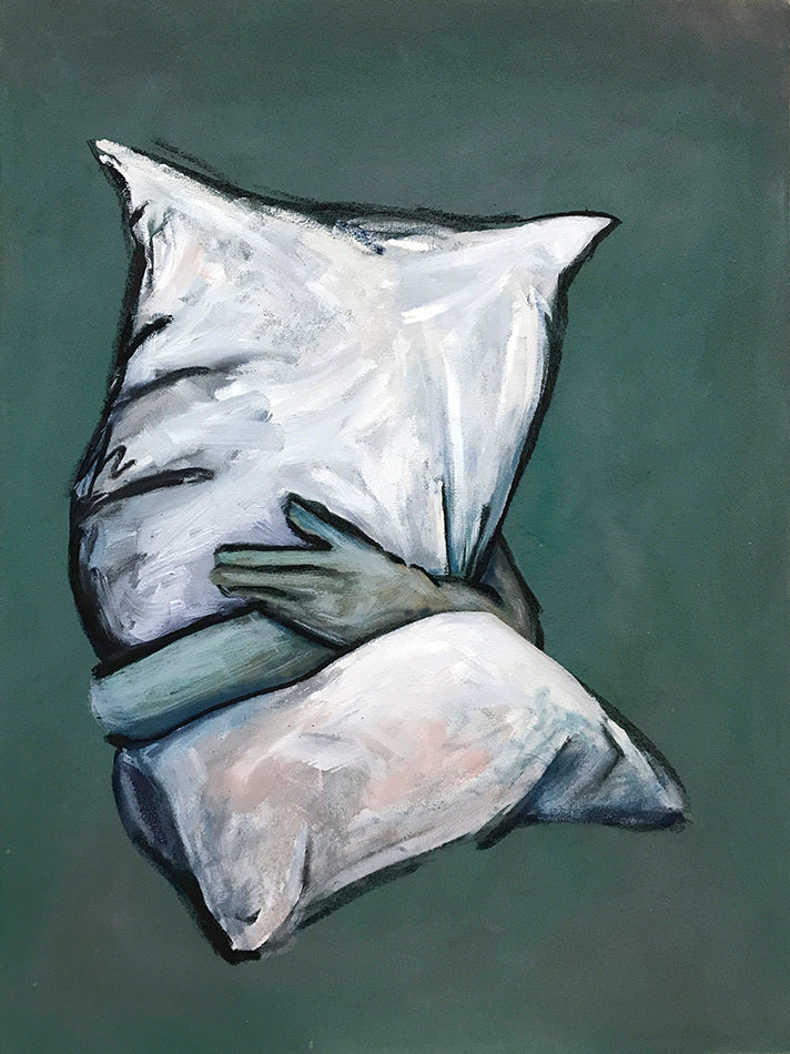 Painting of a pair of arms hugging a pillow on a muted green background. Piece by Henry Glover