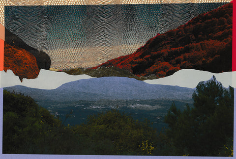 Photographic print comprised of three segments. The bottom part is a natural landscape with trees. The layer above it is a lake with some mountains or hills. Whereas the top layer is a surreal read with a glimmering sky of snake-like shimmering texture. By Maria Makridis.