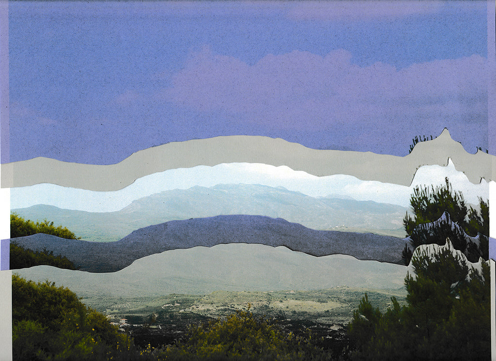 This is a layer photograph. The top part is taken up by a blue sky, with the landscape being divided into subsequent five layers revealing a small village in the distance at the bottom. There are trees to the right and left hand side. By Maria Makridis.