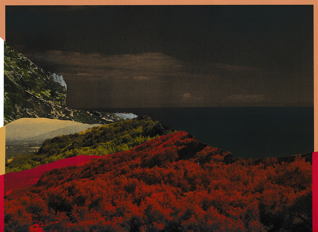 Dark image of coastline, collaged landscape with shades of green to red filters on landscape. Black cloudy sky. By Maria Makridis