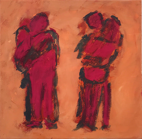 Acrylic painting of a couple embracing. The mirrored perspective gives the illusion of four figures as two separate couples. The figures, in red, are contrasted against a dusty peach background. Piece by Henry Glover