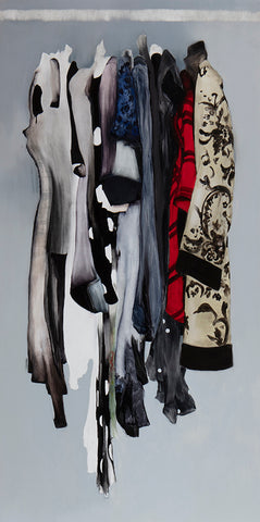 This painting depicts a selection of clothes floating in the air, as if they were hanging in a wardrobe, but there are no hangers. There is a variety of different garments, ranging from red, grey to blue and light grey. By Sylvia Batycka.