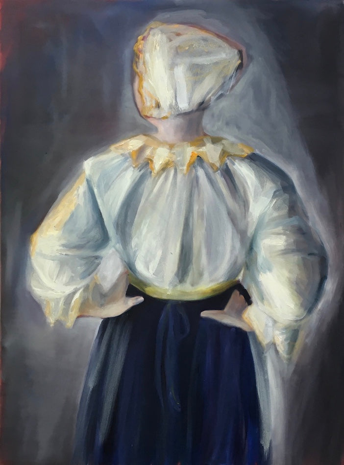 Oil painting of a ambiguous figure wearing a white bonnet, white top, and navy blue skirt. Their back is turned to the viewer, and their hands are on their waist. Original. Piece by Caroline Streatfield.