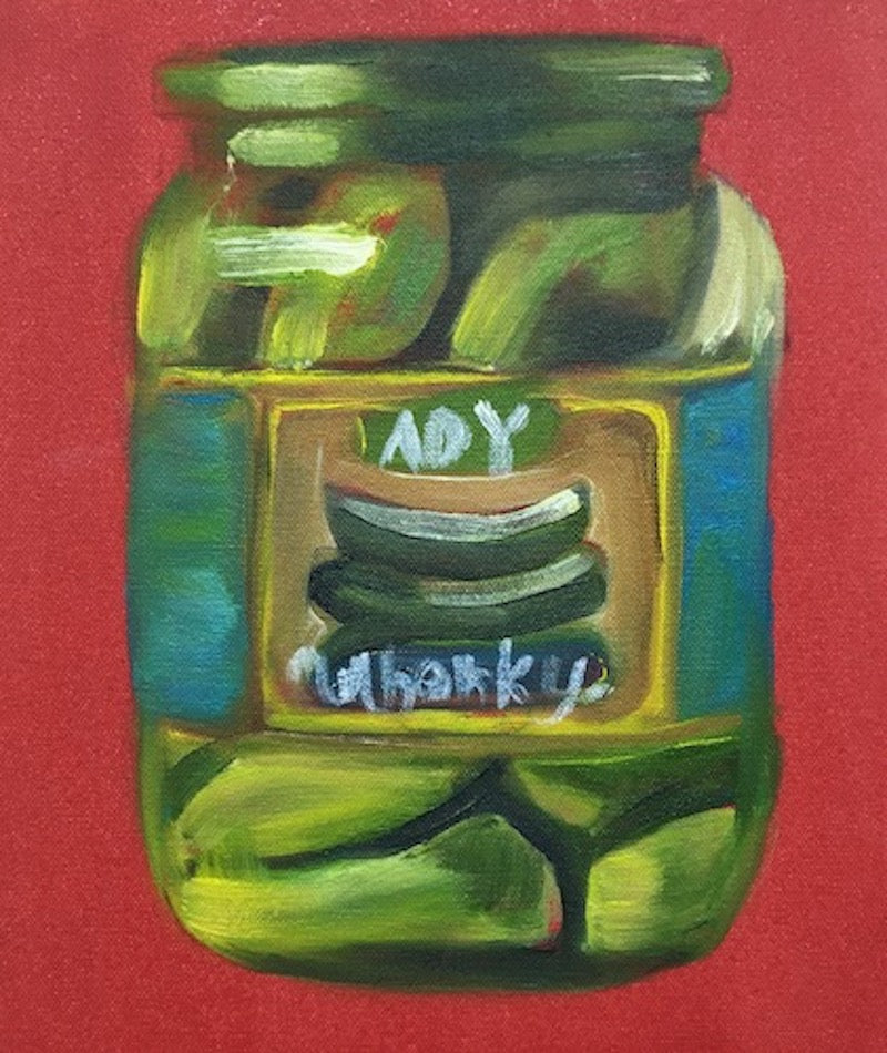 Oil painting of a jar of gherkins, on a red background. Original. Piece by Caroline Streatfield.