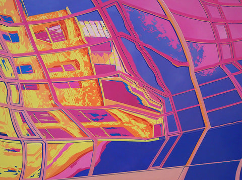 A abstract painting by artist Wing Tung So. The painting appears to be of a refacted skyscraper window that shows an image of other horizontal buildings and trees in purple, pink, yellow and ornage.