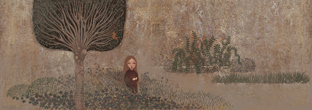 This print depicts an imagined landscape, featuring a figure sitting on the ground in a grassy area, under the shade of a nearby tree. The background is a textured muted brown. By Yuqiao Zheng.