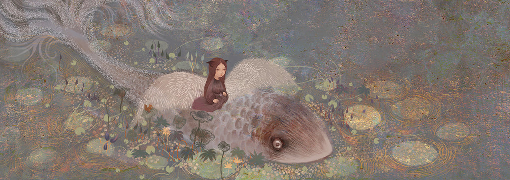 This print depicts an imagined landscape, featuring a human-like figure in an animal costume, with big white feathered wings. They are sitting on top of a large fish, which is surrounded by lily pads. By Yuqiao Zheng.