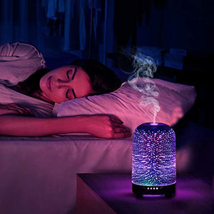 Essential Oil Diffuser 3D Glass Galaxy Aromatherapy Diffuser 120ml Aromatherapy Oil Cold Mist Humidifier 7-color LED Light Cycle Changing Automatic shut Off Without Water Home Office Yoga SPA Baby : Beauty