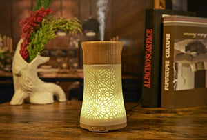Essential Oil Diffusers,120ml Fragrant Room Sprays Ultrasonic Aroma Mist Atomizer BPA-Free, Waterless Auto-Off, 7 Color LED Lights for Office Home Bedroom Living Room Study Yoga Spa-Wooden Lid: Home & Kitchen